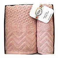 Набор махровых полотенец Sikel Jacquard Anemon 50х90/70х140 см розовый, фото 1