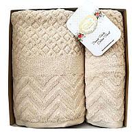 Набор махровых полотенец Sikel Jacquard Anemon 50х90/70х140 см крем брюле, фото 1