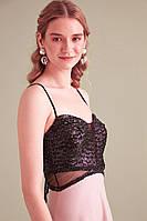 Платье вечернее Пудра с люрексом + черный, фото 1