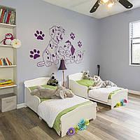 Трафарет далматинцы на стену в детскую комнату, гостиную, спальню, прихожую 95 х 190 см