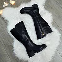 Сапоги женские кожаные черные на невысоком устойчивом каблуке