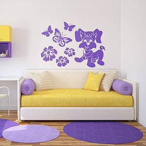 Трафарет собачка с бабочками на стену в детскую комнату, гостиную, спальню, прихожую