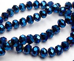 Бусины хрустальные (Рондель) 8х6мм  пачка - примерно 70 шт, цвет - синее напыление
