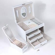 Шкатулка-органайзер для украшений Vilado с дорожным футляром, белая, 50-549 Вт, фото 3
