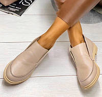 Loro Piana! Женские лоферы туфли полу ботинки натуральная бежевая кожа Лора Пиана