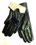 Кожаные женские перчатки, шерсть сетка (размеры 6,5-8,5), фото 2