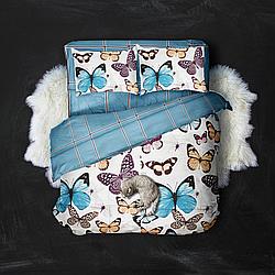 Двуспальный комплект 177х217 «Бабочки и полосы»  из сатина. ( 50х70)