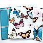 Двуспальный комплект 177х217 «Бабочки и полосы»  из сатина. ( 50х70), фото 2