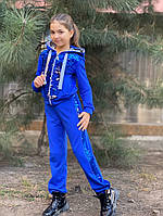 Детский спортивный костюм - двойка для девочки из двунитки + пайетка на рост от 122 до 140 см