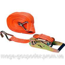 Стяжной ремень с трещоткой 10м,стяжка грузов крюк-крюк 2т