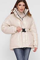 Демисезонная еврозима лаковая куртка пуховик женская куртка-дутик, размер 42-46
