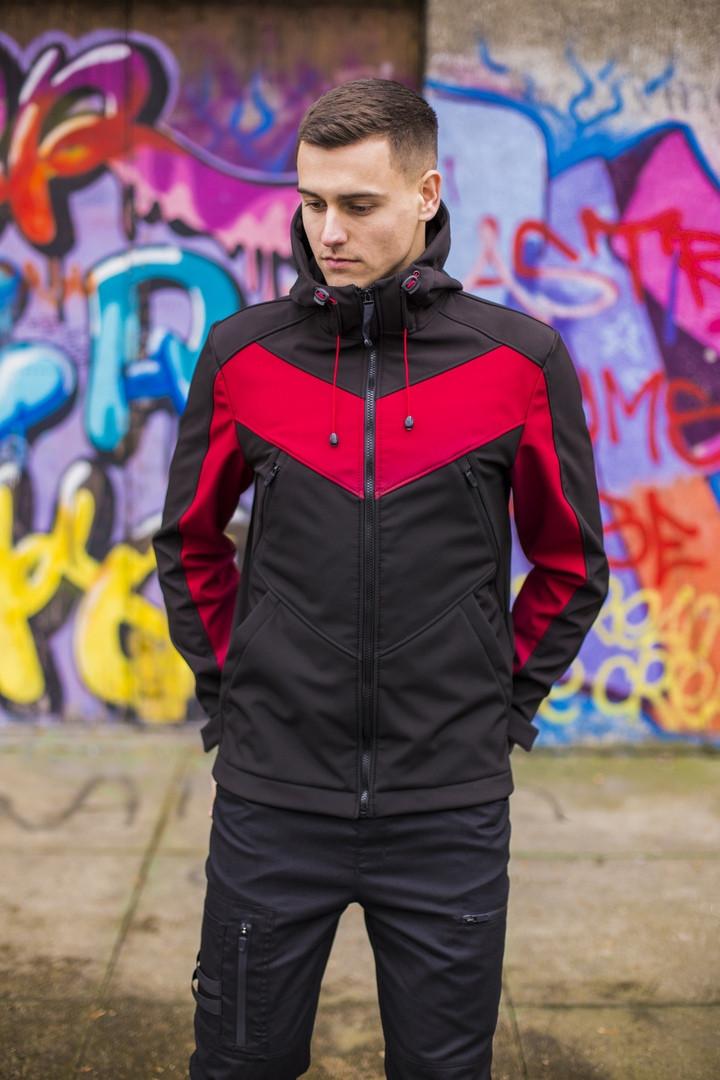 """Не продуваемая весенняя куртка """"Рагнар"""" Soft Shell черная + бургунд - L, XL"""