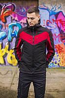 """Не продуваемая весенняя куртка """"Рагнар"""" Soft Shell черная + бургунд - L, XL, фото 1"""