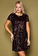 Роскошное вечернее платье из велюра с пайетками