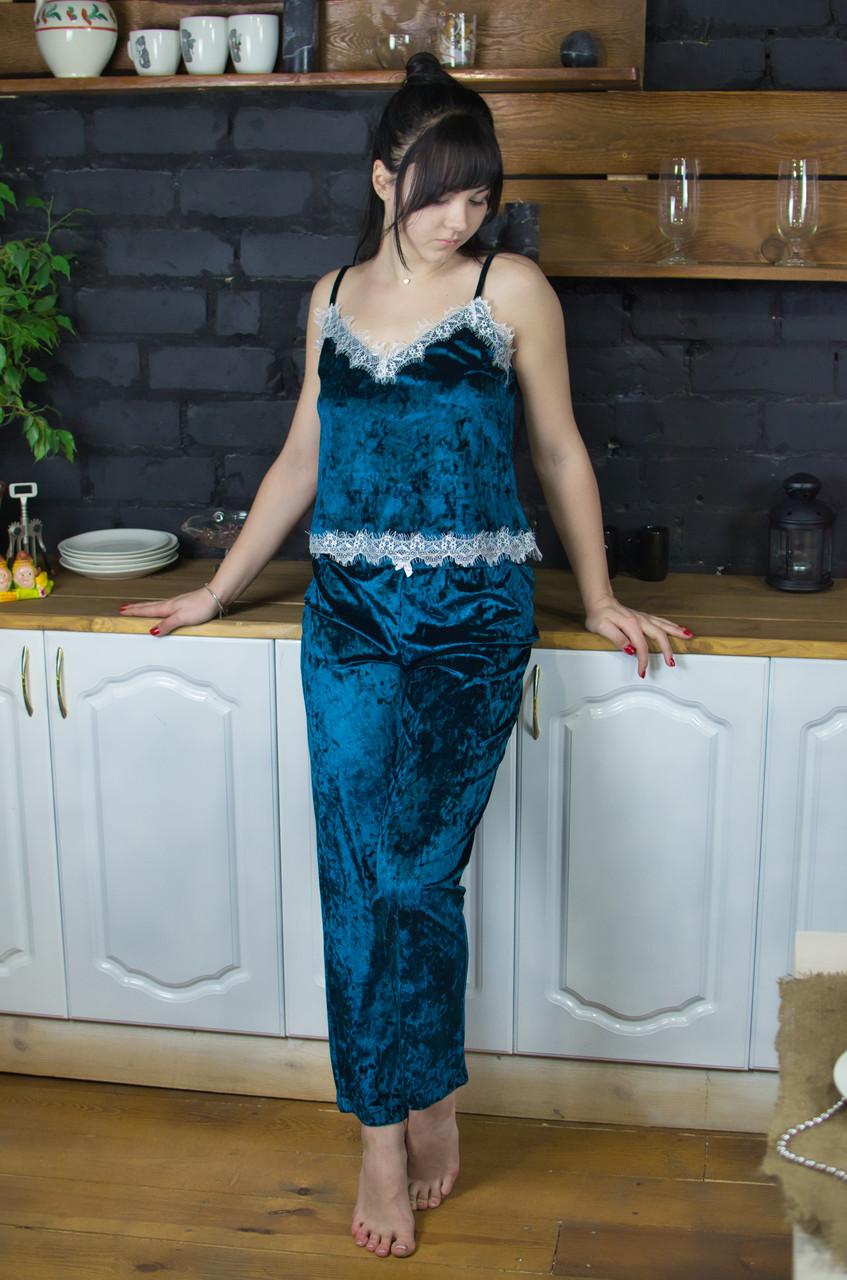 Пижама из мраморного велюра Serenade изумрудная с кружевом