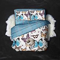 Двуспальный комплект постельного белья «Бабочки и полосы» 177х217 см из сатина (50х70)