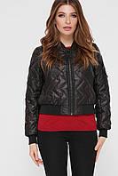 Короткая черная стеганая куртка-бомбер на весну или осень, размер 42-46