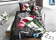 Комплект постельного белья Микроволокно HXDD-949 M&M 0927 Серый, Зеленый, Белый, Красный