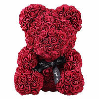 Мишка из 3D роз высотой 25см Бордовый
