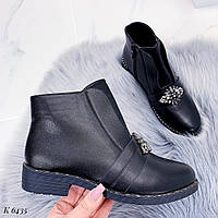 Женские ботинки весенние с брошкой, фото 1