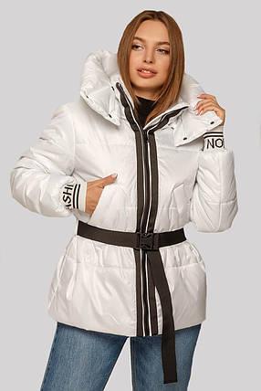 Красивая светлая женская куртка с трикотажным поясом, размер 42-50, фото 2