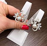 Серебряные сережки с золотом и  жемчугом Жасмин, фото 2
