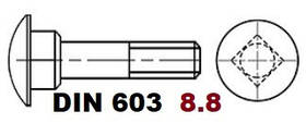 03.02 8.8 DIN 603 (Болт с полукруглой головкой и квадратным подголовником)