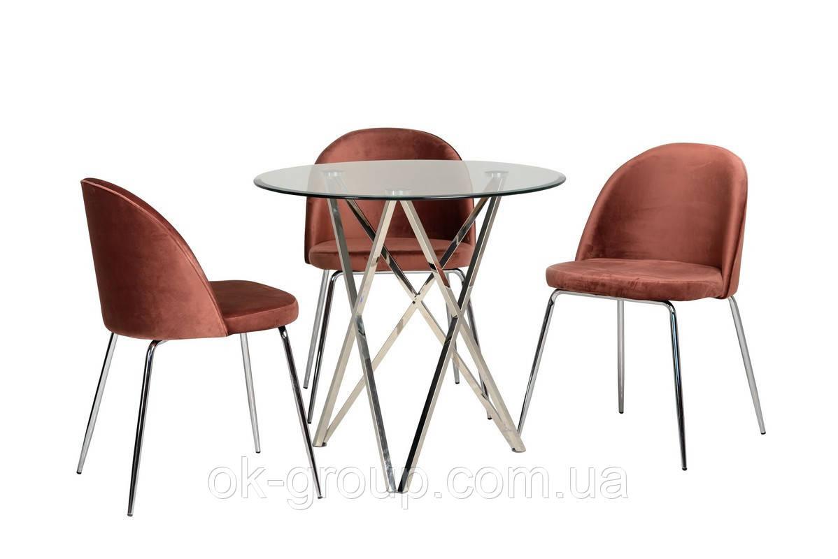 Круглый стеклянный стол на черных металлических ножках  D90