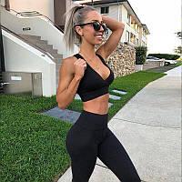 Спортивный костюм женский для фитнеса. Комплект лосины и топ для йоги, спорта, тренировок, размер S (черный)