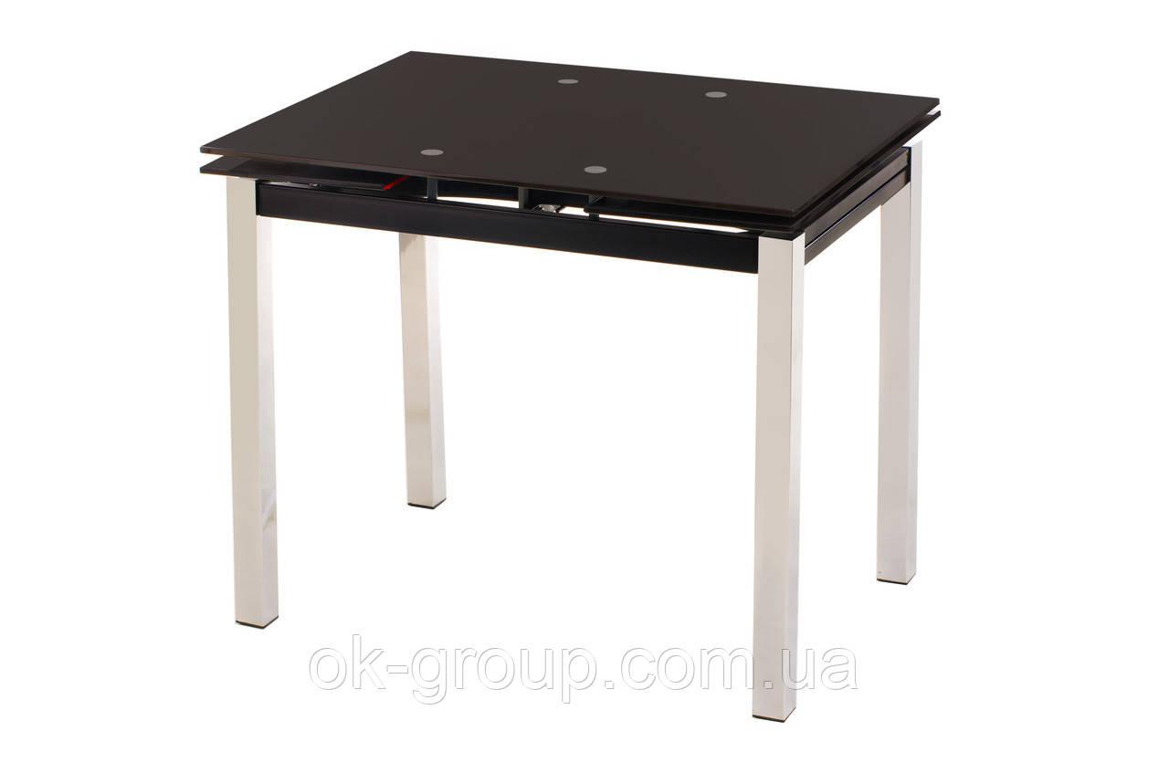 Кухонный стеклянный раздвижной стол коричневого цвета 110-170*74 см.