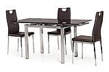 Кухонный стеклянный раздвижной стол коричневого цвета 110-170*74 см., фото 3