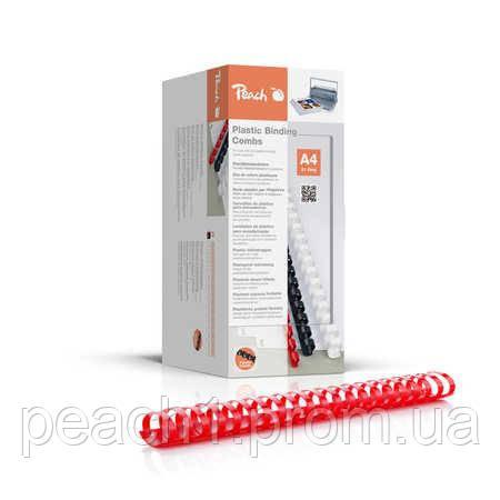 Набор пластиковых пружин для переплета/биндера Peach красный 38 мм 375 листов A4 (21 кольцо) 50 шт