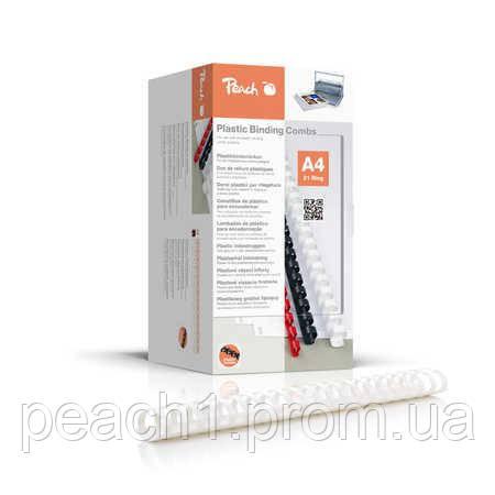 Набор пластиковых пружин для переплета/биндера Peach белый 44 мм 440 листов A4 (21 кольцо) 50 шт