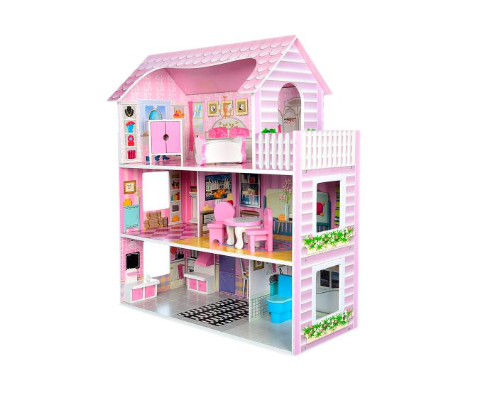 Деревянный домик для кукол, три этажа и мебель  MD 1204 ***