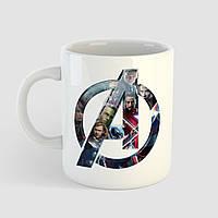 Кружка с принтом Avengers logo. Мстители логотип. Чашка с фото, фото 1
