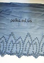 """Вышивка на  сетке """"морской бриз"""", ширина 22см, цвет серый зеленый синий (Италия)"""