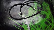 Кожаный плетенный шнур с крестом