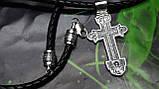 Кожаный плетенный шнур с крестом, фото 7