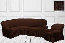 Чехол на угловой диван + кресло Шоколадный