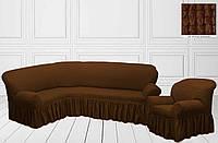 Чехол на угловой диван + кресло Коричневый