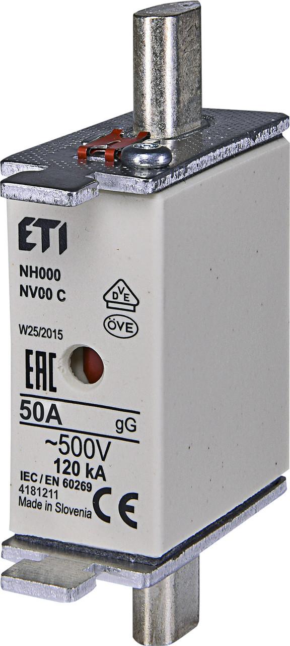 Предохранитель ETI NH-000 gL/gG 50A 500V KOMBI 120kA 4181211 ножевой универсальный (NH-00C)