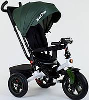 Детский велосипед трансформер 3-х колёсный зеленый Best Trike 9500 с надувными колесами и фарой