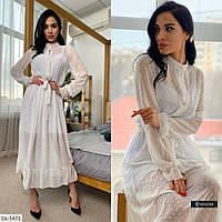 Шифоновое женское платье белого цвета, размеры: S-M