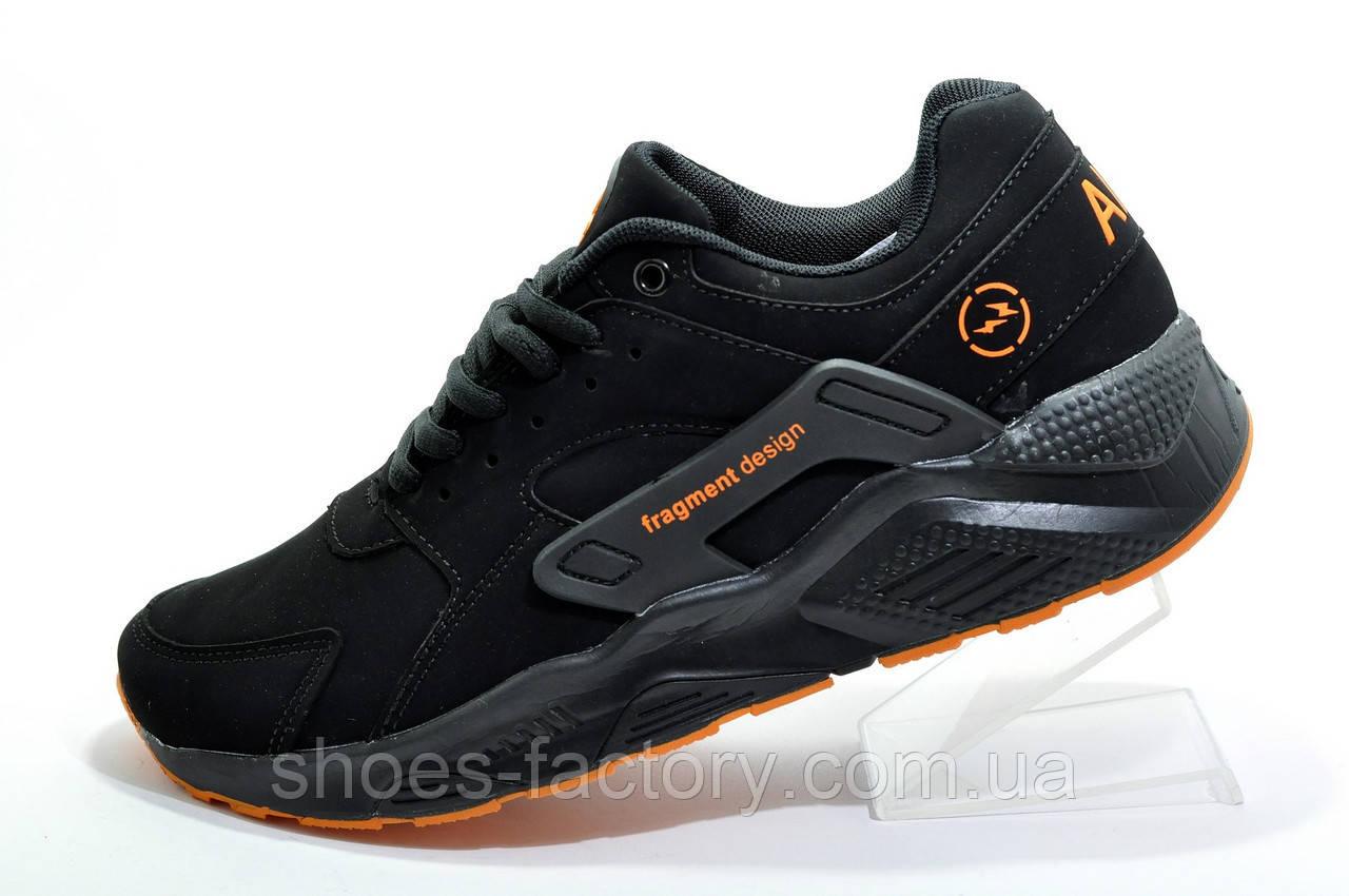 Подростковые кроссовки на мальчика в стиле Nike Air Huarache, Black\Orange