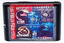Картридж сега 5 в 1 Mortal Kombat 1-2-3-4-5