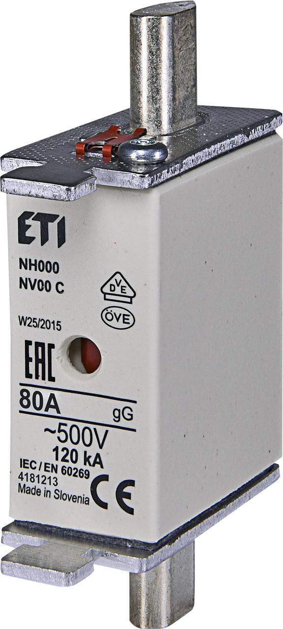 Предохранитель ETI NH-000 gL/gG 80A 500V KOMBI 120kA 4181213 ножевой универсальный (NH-00C)