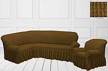Чехол на угловой диван + кресло Горчичный