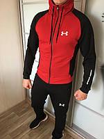 Спортивный костюм Under Armour X-black-red мужской трикотажный весенний осенний ЛЮКС