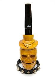Резная трубка для курения Бородатый Череп c мундштуком под фильтр 9 мм из дерева груши