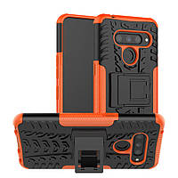 Чехол Armored для LG V50 ThinQ противоударный бампер с подставкой оранжевый